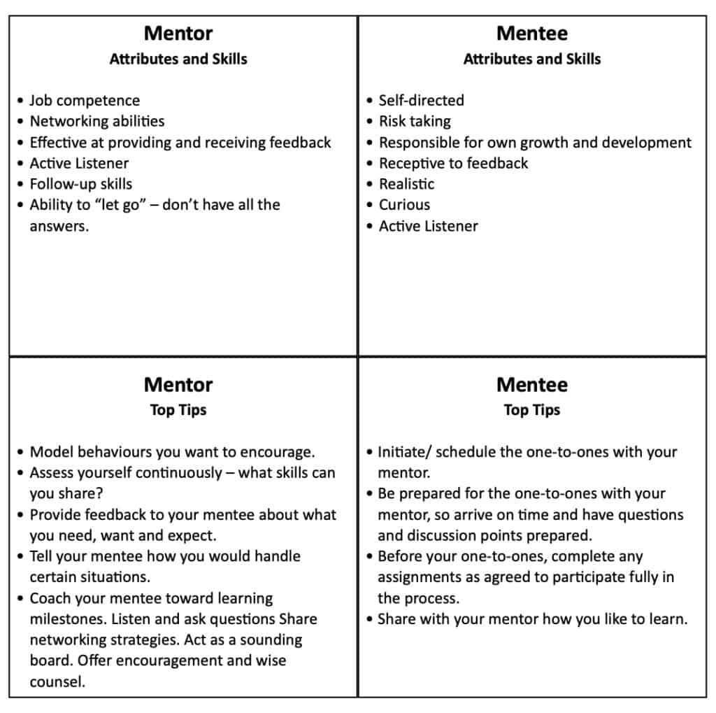 Attributes, skills and top tips for mentors and mentee.