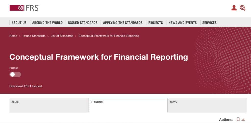 The IFRS Conceptual Framework governs the journal entry for insurance premium paid in advance.